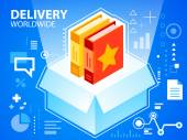 Bright illustration delivery box and books