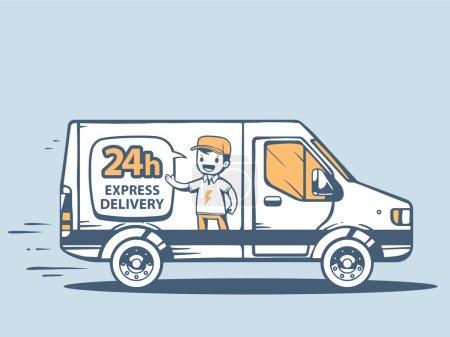 Illustration for Vector illustration of van express delivering to customer on blue background. - Royalty Free Image