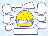 Burger with speech bubbles