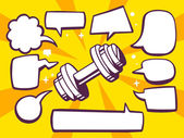 Dumbbell with speech bubbles