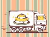 Truck and fast delivering cake