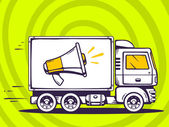 Vector illustration of truck free and fast delivering megaphone to customer on green pattern background Line art design for web site advertising banner poster board and print