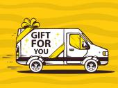 Van and fast delivering gift