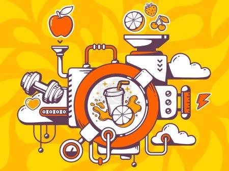 Illustration pour Illustration vectorielle du mécanisme de fabrication des jus de fruits frais et des icônes pertinentes sur fond orange. Conception d'art de ligne pour le Web, le site, la publicité, la bannière, l'affiche, le conseil et l'impression . - image libre de droit