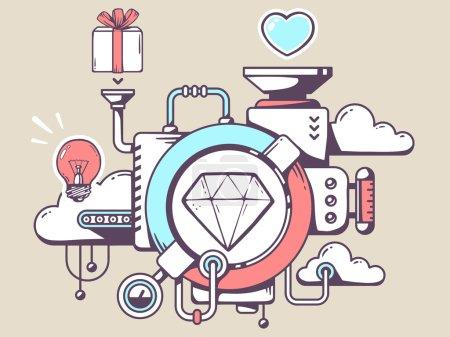 Mechanism with diamond