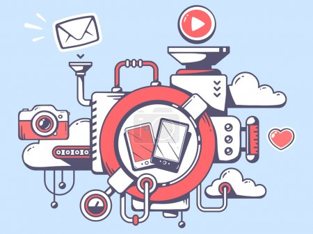 Illustration for Vector illustration of mechanism to use phone and relevant icons on gray background. Line art design for web, site, advertising, banner, poster, board and print. - Royalty Free Image