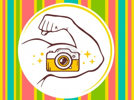 Hand with photo camera icon