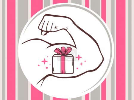 Strong man hand with  icon of gift box