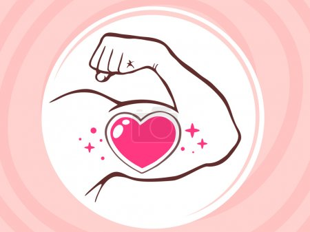 Strong man hand with  icon of heart