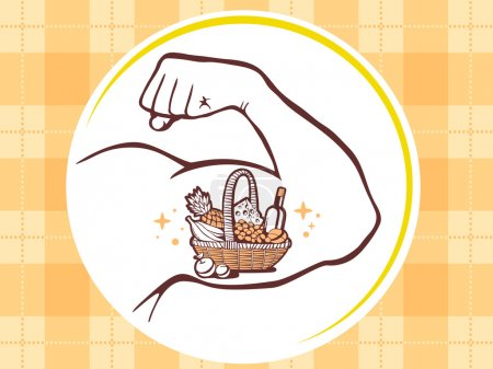 Strong man hand with  icon of basket with food