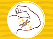 Strong man hand with  icon of dna molecule