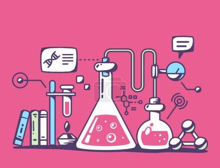 Illustration pour Illustration vectorielle de flacons colorés de laboratoire chimique sur fond rouge. Conception d'art de ligne de couleur vive pour le Web, le site, la publicité, la bannière, le flyer, l'affiche, le conseil et l'impression . - image libre de droit