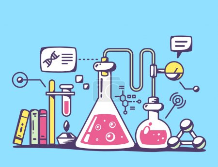 Illustration for Vector illustration of red and yellow chemical laboratory flasks on blue background. Bright color line art design for web, site, advertising, banner, flyer, poster, board and print. - Royalty Free Image