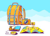 Vector illustration of backpack and travel accessories on blue mountains background Colorful hand draw line art design for web site advertising banner poster board and print