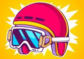 Red fashion helmet on yellow background