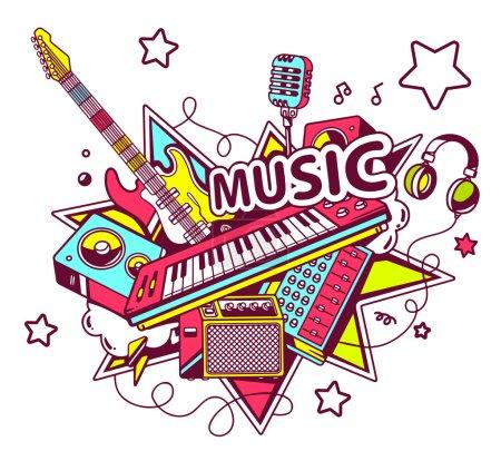 Illustration pour Illustration vectorielle d'un ensemble coloré d'instruments de musique sur fond clair avec des étoiles . - image libre de droit