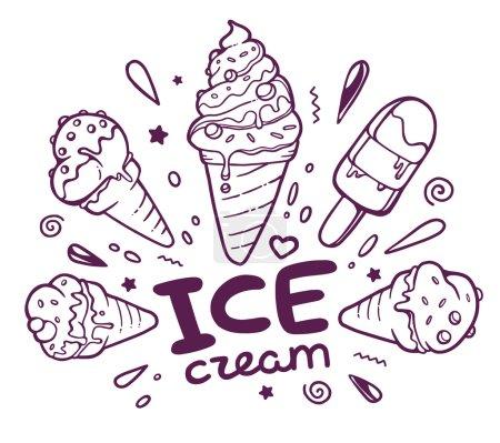 Ice creams with inscription