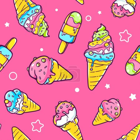 Ice cream pattern with stars and dots
