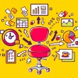 Red office chair with documents and financial charts on yellow background