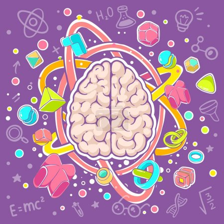Illustration for Vector colorful illustration of model of human brain top view on purple background. Hand draw line art design for web, site, advertising, banner, poster, board, brochure and print. - Royalty Free Image