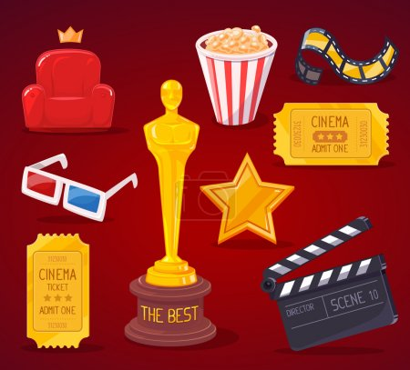 Vector illustration of big cinema objects collection on red back