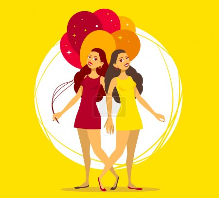 Illustration for Vector illustration of two young girls with bunch of balloons on yellow background. Art design for web, site, advertising, banner, poster, flyer, brochure, board, paper print. - Royalty Free Image
