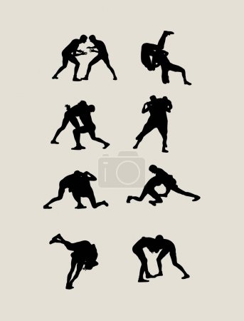 Wrestling Set Silhouettes