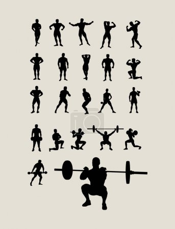 Body Building and Lifting Weights Silhouettes
