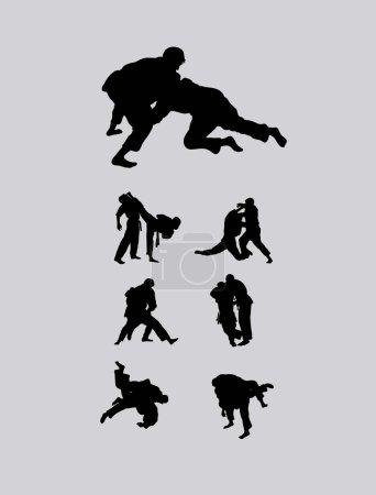 Judo Set wrestlers Silhouettes