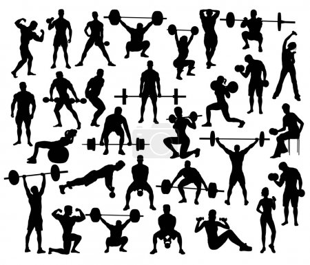 Sport Silhouette of weightlifting and Bodybuilding