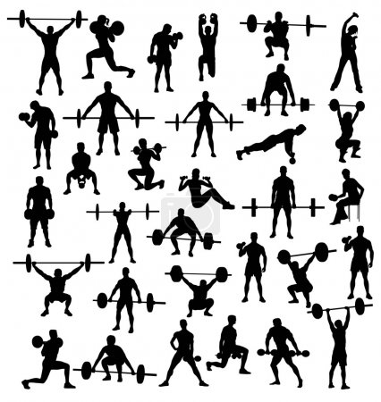 Silhouette of Action and Activities bodybuilders and weightlifters