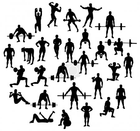 Sport Activities silhouette of weightlifting and bodybuilding