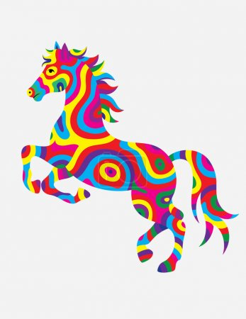 Horse abstract colorfully
