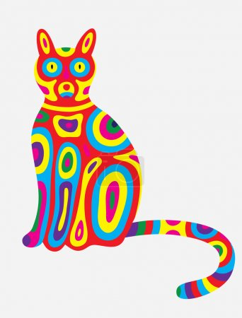 Cat abstract colorfully