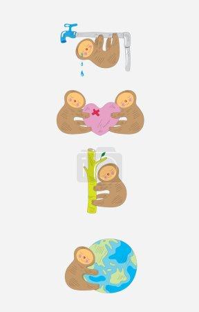 Illustration for Panda cartoon set, art vector humor critic illustration - Royalty Free Image