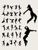 Hip Hop Dancers Silhouettes art vector design