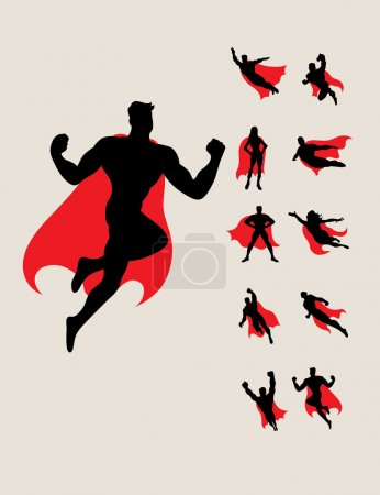 Illustration for Superhero Silhouettes, art vector design - Royalty Free Image