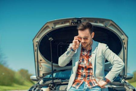 Men having problem with car