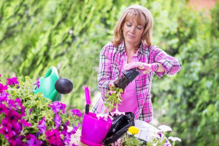 Photo for Woman planting flowers.Shot of a woman enjoying spending time in her garden at home. - Royalty Free Image