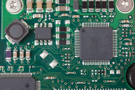 Photo for Closeup of electronic Circuit board with Microchips - Royalty Free Image