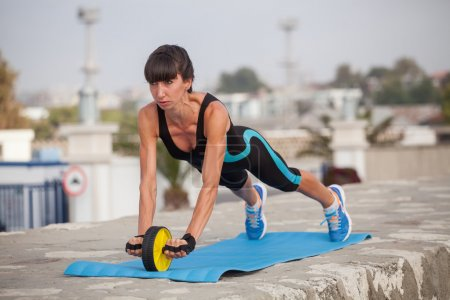 Fitness woman outdoor training, workout. Concept sport healthy l