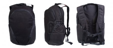 Black backpack isolated on white. Product studio shots