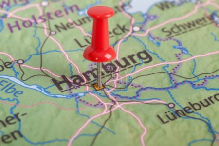 Close up of Hamburg map with red pin - Travel concept