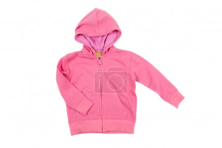 Pink hooded sweatshirt, isolated on white