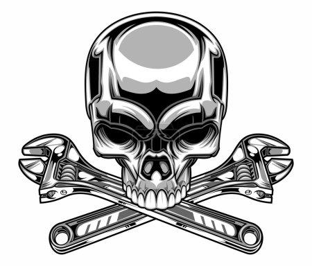Illustration pour Illustration vectorielle du crâne et de la clé en métal - image libre de droit