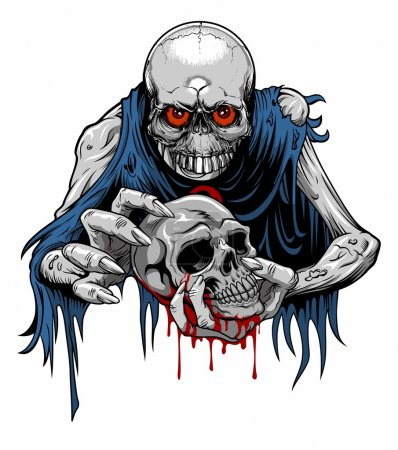 Illustration for Vector illustration of zombie with torn clothes holding a bloody skull - Royalty Free Image