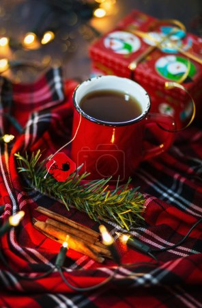 Christmas themed image with cup of tea