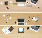 Realistic workplace organization Set of three banners