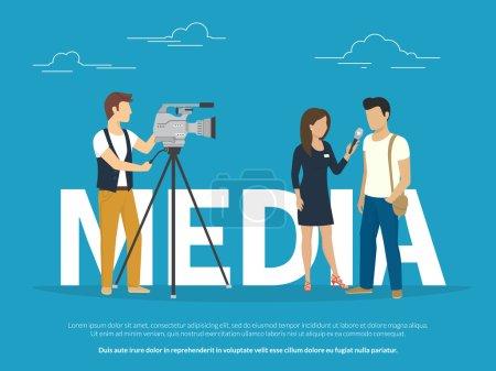 Mass media concept illustration of live news tv br...