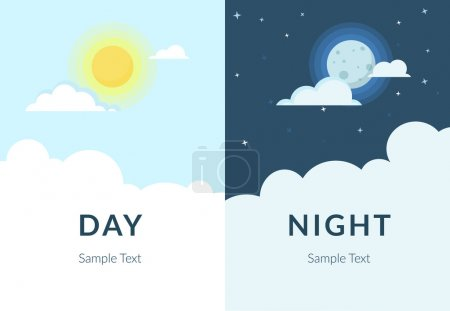 Illustration for Half day and night, sun and moon with clouds. Flat illustration of sky and weather broadcasting, cloud and life, period and cycle for banners of mobile app backgrounds - Royalty Free Image